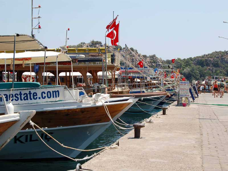 Turunç Boat Trips - boats lined up at the harbour