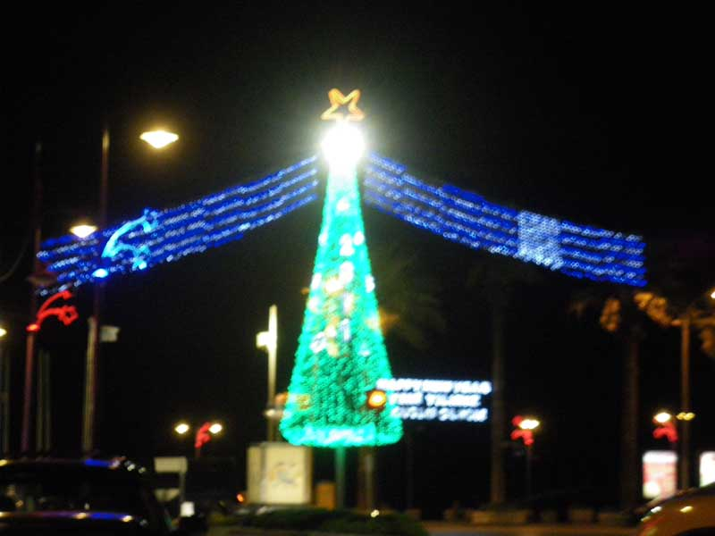Christmas lights in Marmaris by the Ataturk statue