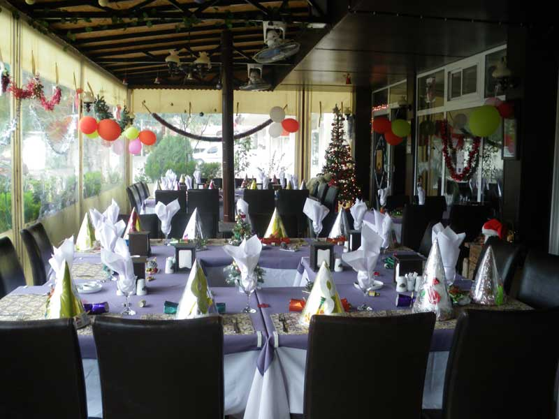 Pasha's Restaurant beautifully decorated for Christmas Day
