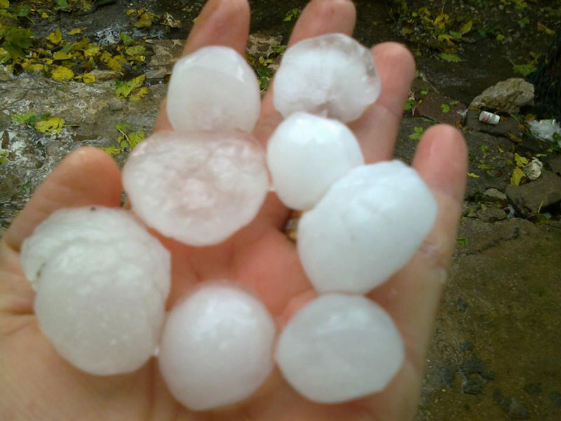 ... hailstones literally the size of golf balls