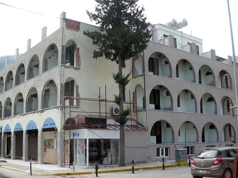Work continues at the Özcan hotel in the main street