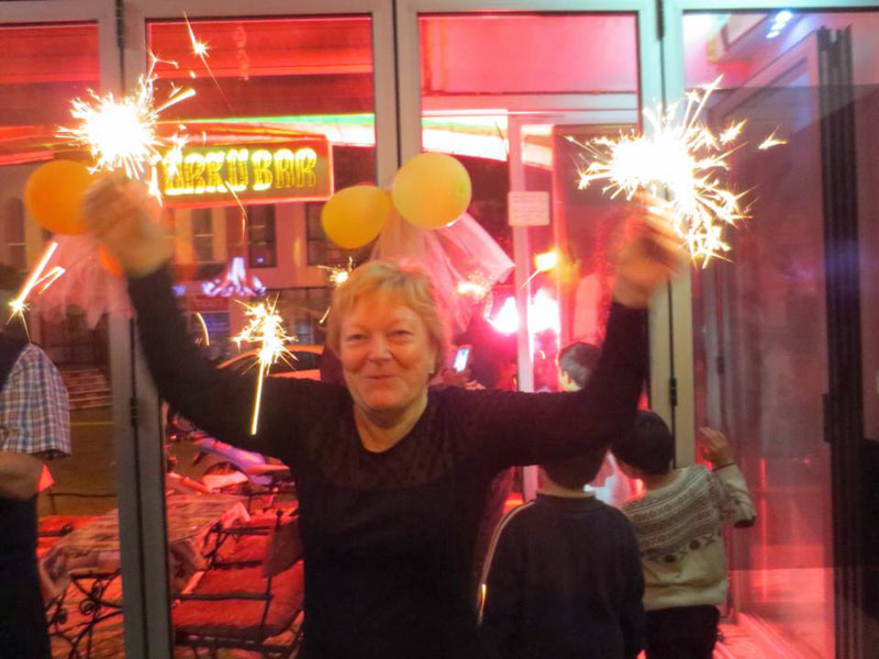 New Year's Eve 2014 - sparklers at Bob's Bar