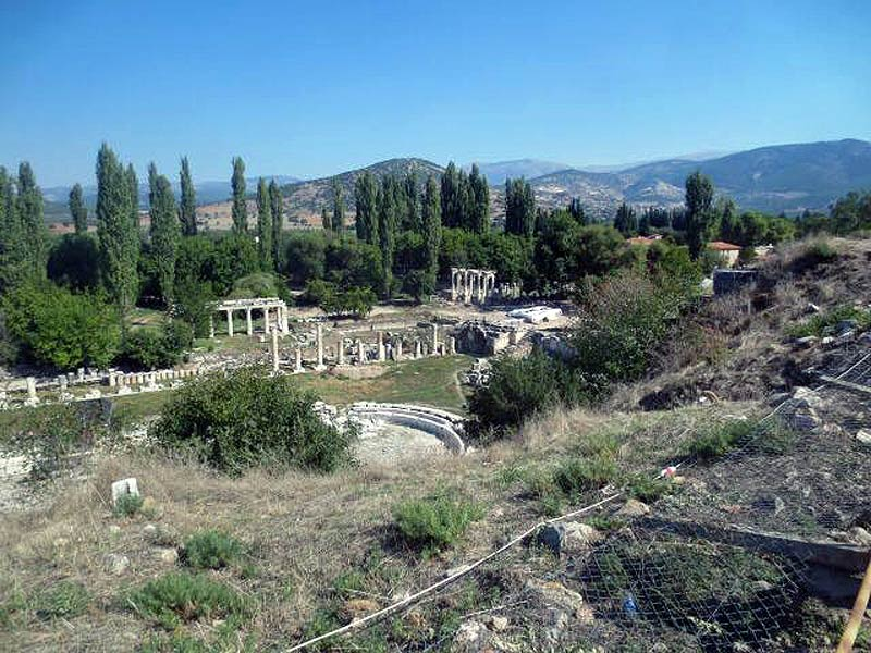 The South Agora - a park-like square with a pool at the centre ...