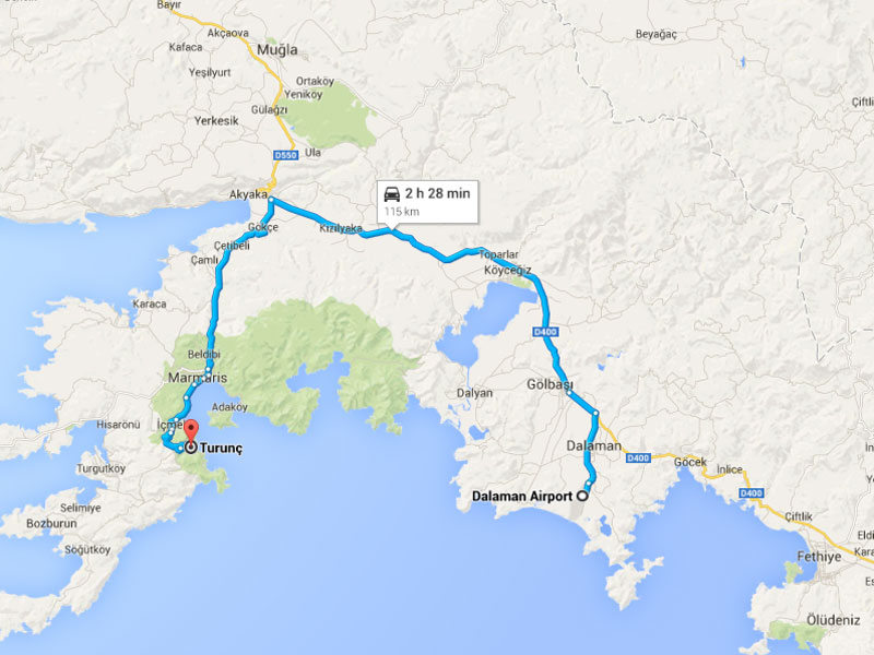 Transfer Map - Dalaman airport to Turunc